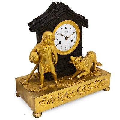 "Antique French pendulum clock ""Little Red Riding Hood"" LeRoi, montre horloge 2"