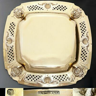 Antique French Sterling Silver Gold Vermeil Compote Footed Tray Serving Plate 4 3