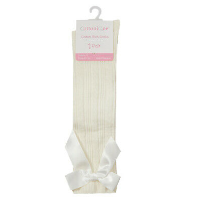 Girls Cute Spanish Style Knee High Cable Design Socks With Ribbon Bow Gift Idea 4
