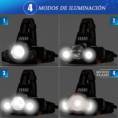 Linterna Frontal Recargable de cabeza luz LED 9000LM T6 bateria 18650 + cargador 3