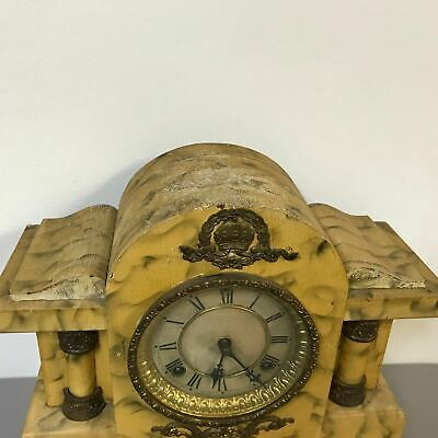 Antique Faux Marble Painted Waterbury Mantel Clock 3