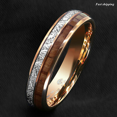 8/6mm Rose Gold Dome Tungsten Ring Silver Koa Wood Inlay Bridal ATOP Men Jewelry 7