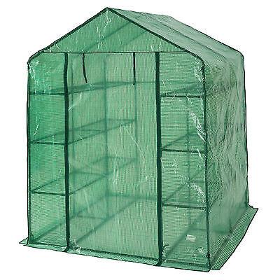 Serre de jardin metal PE plastique tente abri légume fruit plante 143x143x195cm 2