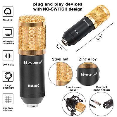 BM800 Condenser Microphone Kit Studio Pro Audio Recording Arm Stand Shock Mount 3