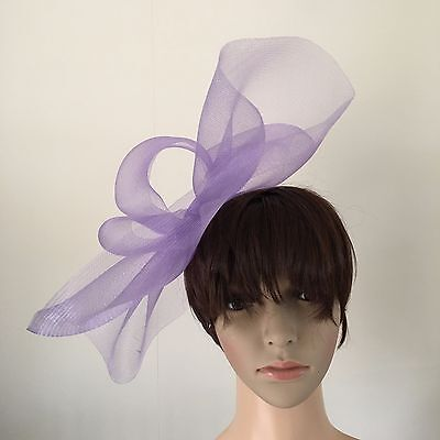light pale purple lilac fascinator millinery burlesque wedding hat ascot bridal 2