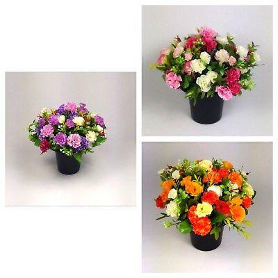 grave Artificial/Silk flower arrangement in grave memorial pot Mini-Carnation 2