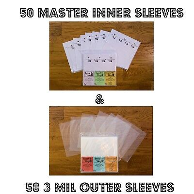 """100 LP Sleeves Combo - 50 3 Mil Outer & 50 Master Rice Paper Lined Inner 33 12"""" 2"""