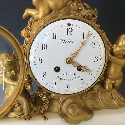 French Clock Garniture in  Gilt Bronze and Marble Circa 1880 3