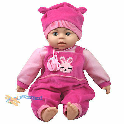 "18"" New Born Soft Body Baby Doll Toy with Dummy Baby Sounds Crying Talking Gift"