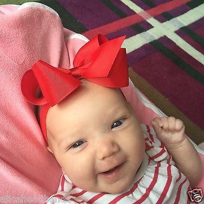 Big Bow On Frilly Elastic Bands Baby Girls Headbands Bow Soft Headbands  + Lot 2