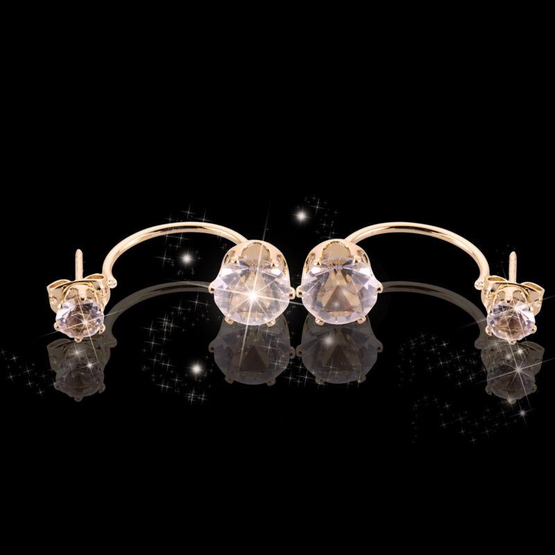 Charm Crystal 925 Sterling Silver Stud Hoop Earrings Fashion Women UK 8