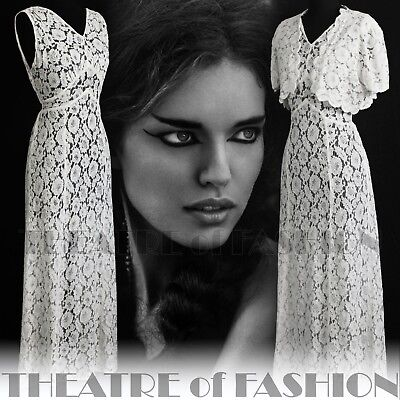 DRESS 30s WEDDING LACE JACKET 20s VINTAGE 40s GATSBY DECO CROCHET GODDESS ICON 3