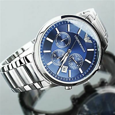 New Genuine Emporio Armani Mens Ar2448 Watch Blue Dial Stainless Steel Uk 2