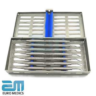Set Of 7 Dental Clinical Gracey Curettes Periodontal Tools With Cassette FREE 5