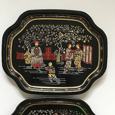 ELITE METAL TRAYS Asian Scene Made in England 7x6 Set of 2 Black Gold Red Tip 4