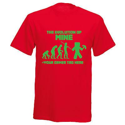 Mine Popular Craft Inspired Evolution Mens Womens Girls Boys Gamer T Shirt TEXT