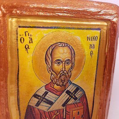 Saint Nicholas Nikolaos Agios Nikolas Rare Byzantine Greek Orthodox Icon Art 3