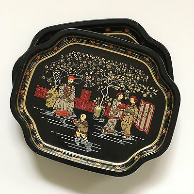 ELITE METAL TRAYS Asian Scene Made in England 7x6 Set of 2 Black Gold Red Tip 6
