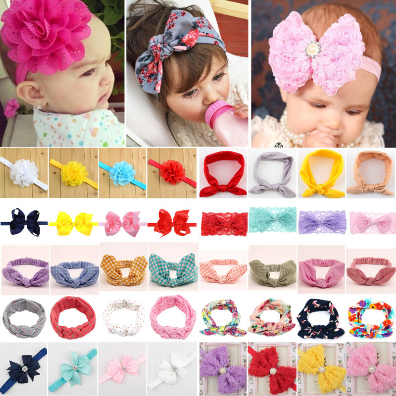 Baby Girls Bunny Cute Kids Ribbon Knot Rabbit Headband Bow Hair Bands Head Bow 3