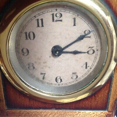 Antique, Unusual Travel, Carriage Clock In Mahogany Casing, Doors To Front 11