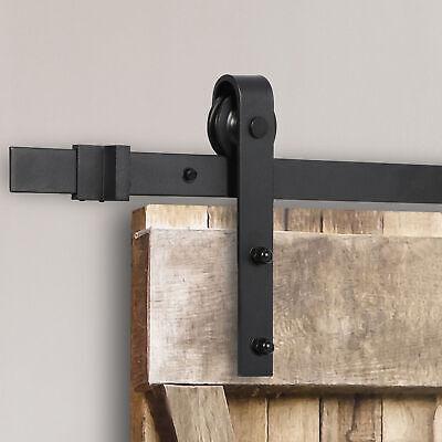 Sliding Barn Door Hardware Kit 6.6FT Modern Closet Hang Style Track Rail Black 3