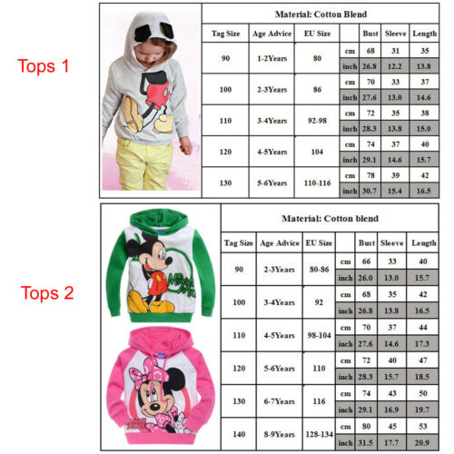 Kids Baby Girls Boys Mickey Minnie Mouse Hoodie Sweatshirt T-Shirt Tops Outfits 2