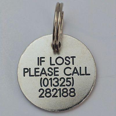 Quality Engraved Pet tag - small 26mm circle Nicron tag 3