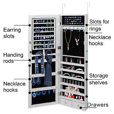 Wall/ Door Mounted Jewelry Cabinet Armoire Large Jewelry Box Organizer w/ Mirror 2