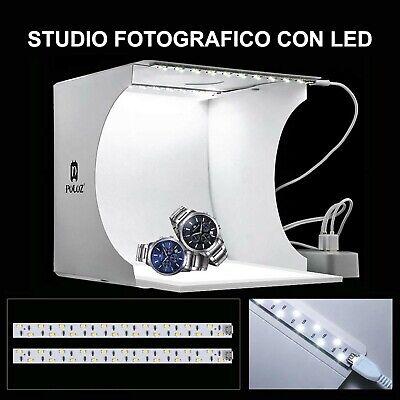 Studio Set Fotografico Portatile Pieghevole Light Box Con Illumin. Led 6 Sfondi 8