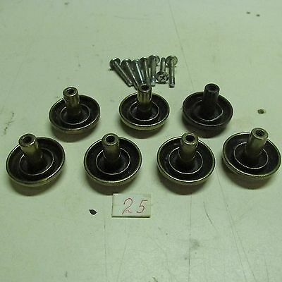 PULL KNOBS ROUND BRASS (lot of 7) ANTIQUE used 2