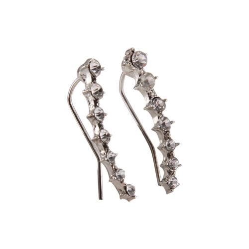 Charm Crystal 925 Sterling Silver Stud Hoop Earrings Fashion Women UK 2