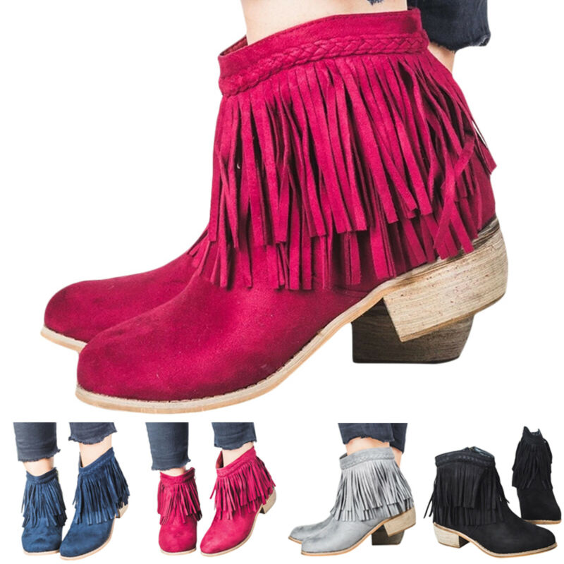 Women Ladies Short Ankle Boots Tassel Chunky Low Heel Casual Shoes UK Size 3.5-8 2