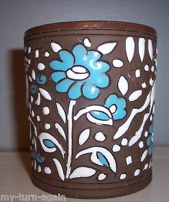 Vintage Art Deco Enamel Decorated Rodos Keramik Greek Greece Cup