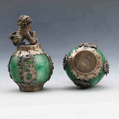 Exquisite Chinese Silver Dragon Inlaid Green Jade Hand Carved Pair Lion Statue 5