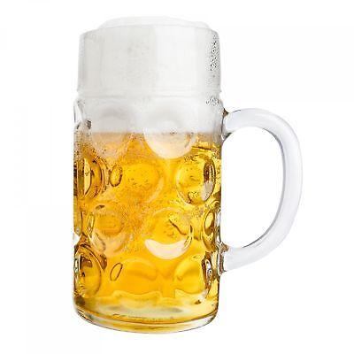 2er Set Maßkrug 1 L geeicht Bierkrug Glas Bierglas Glaskrug Maß Bier Maßkrüge 3