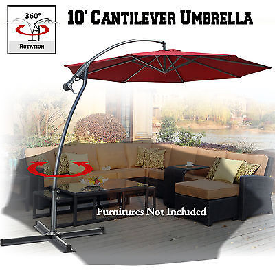 1 Of 9FREE Shipping 10u0027 Cantilever Banana Patio Umbrella Sunshade Offset  Hanging Canopy W Cross Base