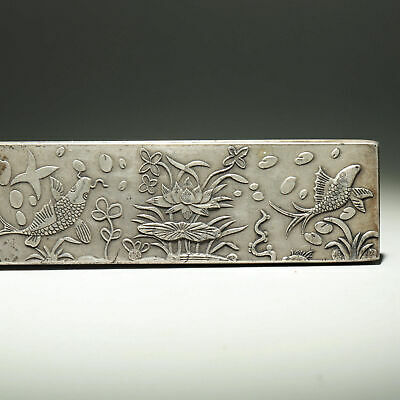 Collect Old Miao Silver Hand-Carved Fish & Bloomy Lotus Luck Paperweight Statue 3
