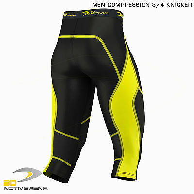 Mens Compression Tights Skin Tight Pants Three Quarter Base Layer Shots 3/4 Legg 7