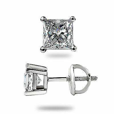 1.05Ct Princess cut Solitaire Stud Earrings Lab Diamond 14k White Gold Screwback 8
