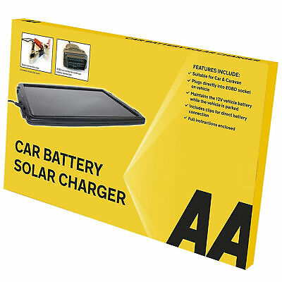 AA 12V Solar Powered Panel Car Caravan Battery EOBD Trickle Charger Maintainer 3