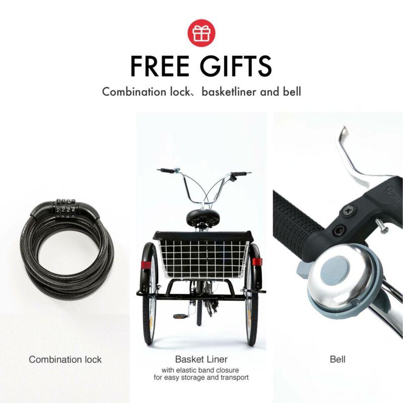 "26""/24""/20"" 8 Speed Adult Trike Tricycle 3-Wheel Bike w/Basket for Shopping 9"