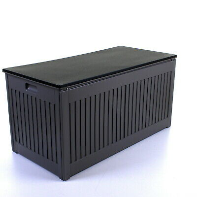 270L Grey Garden Storage Box Outdoor Plastic Utility Cabinet Shed Chest Cushion 6