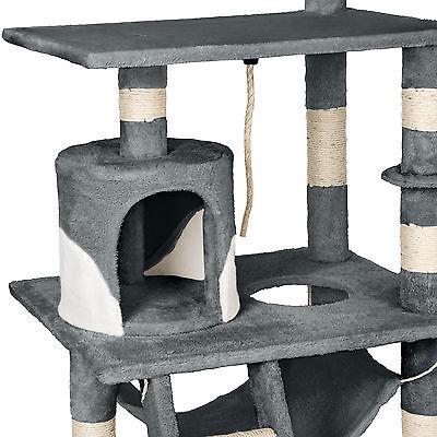 Arbre à chat griffoir grattoir geant avec hamac lit 141 cm hauteur gris blanc 5