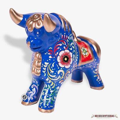 "Blue Painted Ceramic Bull with Flower Motifs Pucara Bull Handpainted 8.3/"" Tall"