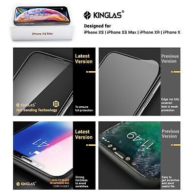 2 X iPhone XS Max XR X Full Coverage Tempered Glass Screen Protector for Apple 2
