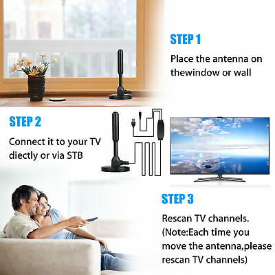 Antenna TV Digital HD 200 Mile Range Skywire TV Indoor 1080P 4K 16ft Coax Cable 3