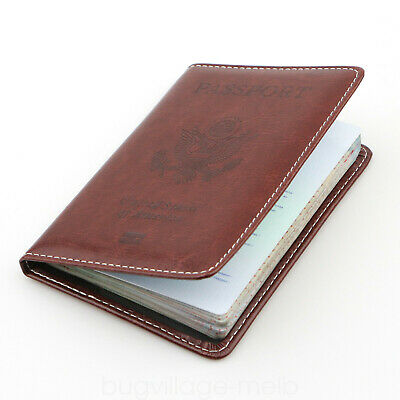 Travel Leather Passport Organizer Holder Card Case Protector Cover Wallet US 8