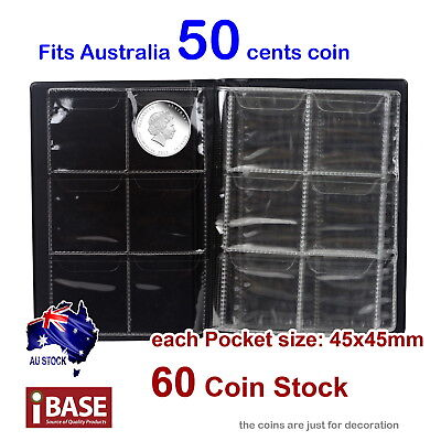 4x Coin Album Holder Storage Collection Collecting Stock Pocket 60 Slots 50 cent 3