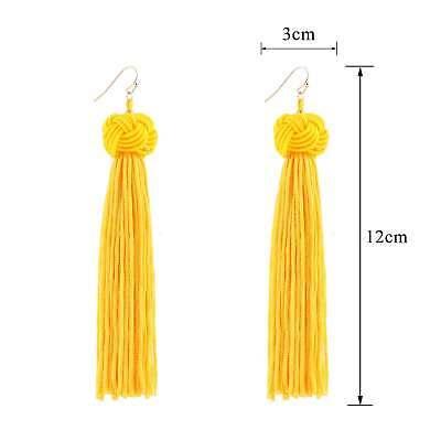 Women Bohemian Fashion Rhinestone Long Tassel Hook Fringe Dangle Drop Earrings 2