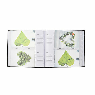 6x4'' Large Slip In Memo Text Art Design Photo Album For 200 Holds -  Black
